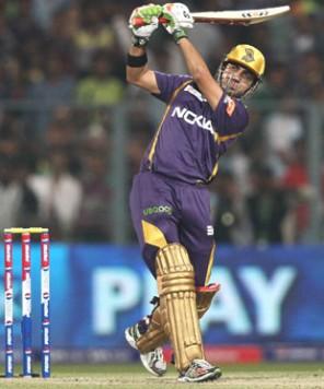 Gambhir in action against Delhi in the IPL 2013 opener