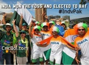 4th Match, Pool B, World Cup 2015- India vs Pakistan ! Toss- India has won the toss and elected to bat. ?#?IndvPak? ?#?cricbol? ?#?cwc15? ?#?Toss? ?#?Cricket?