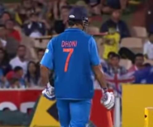 M S Dhoni in match in India vs Australia