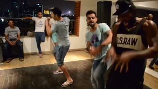 Our boys enjoying themselves at the victory party after the match against DD