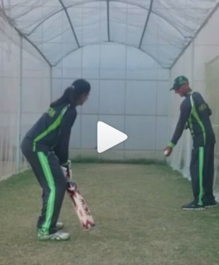 Aliya Riaz from Pakistan Women cricket team practicing before first ODI between Pakistan women and Bangladesh Women teams