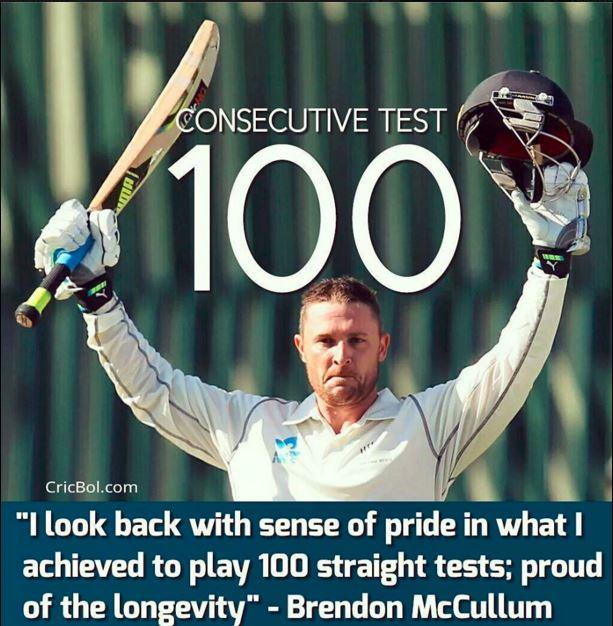 Brindon McCullum 100th consecutive test