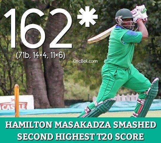Hamilton Masakadz second highest score ever in T20 cricket