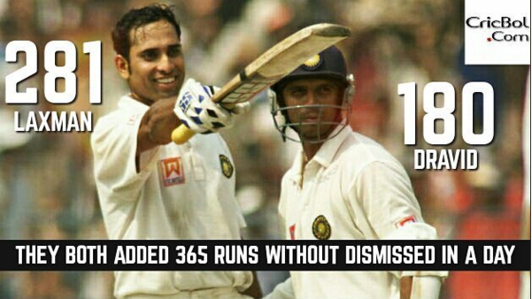 On this day - Rahul Dravid and VVS Lakshman hit 281 and 180 on a single day in a test match