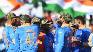 indian team with army cap